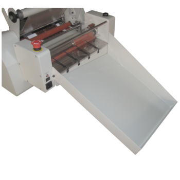 Roll Laminator Paper separator attachment unit. Attach the unit to dispense your papers and feed them into the laminator.