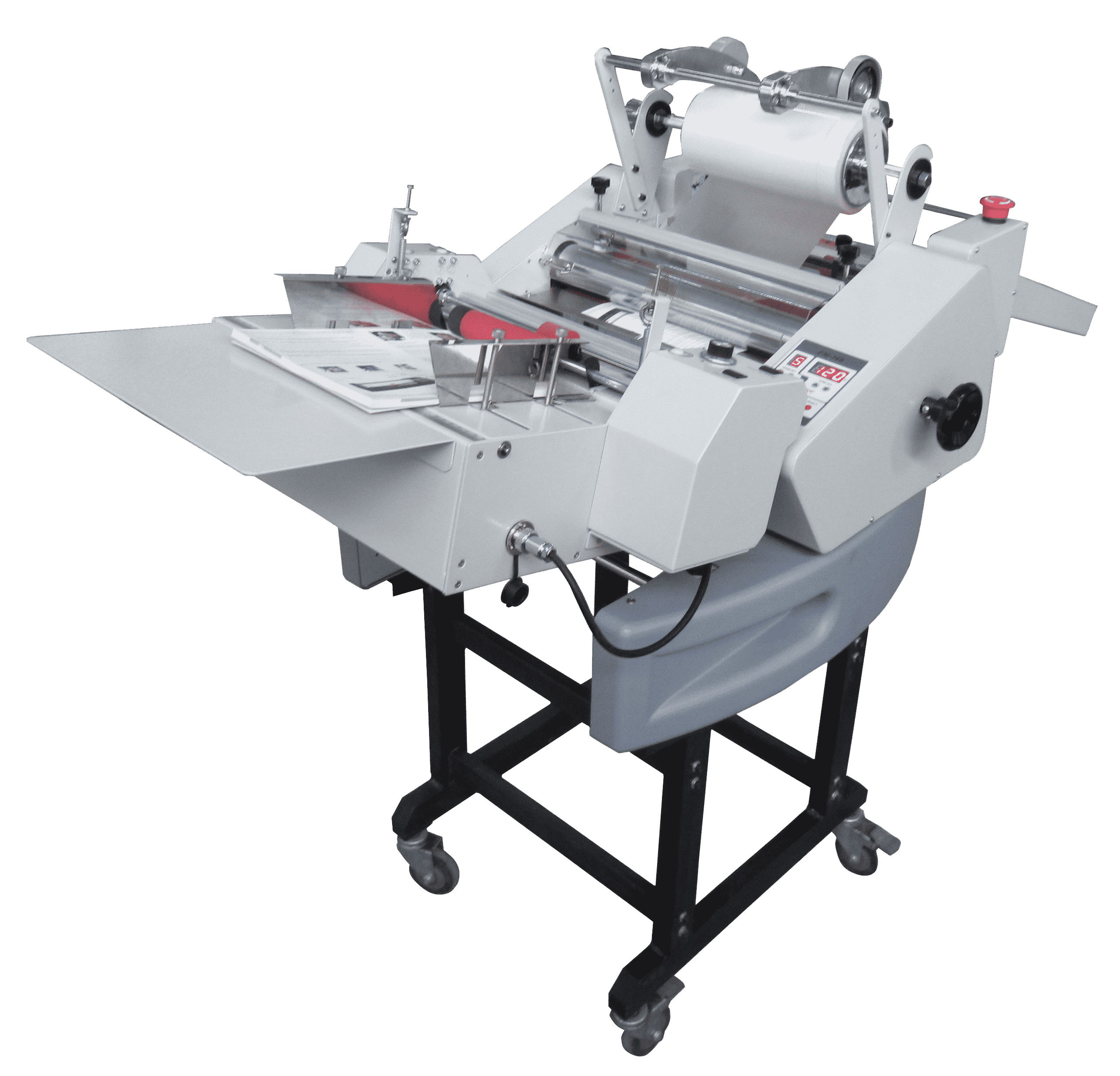 The Masterlam 13S | Roll Laminator for Single sided lamination. This automatic hot roll laminator creates single sided lamination without the hassle. Perfect for short to medium runs with an attached feeder and burster unit.
